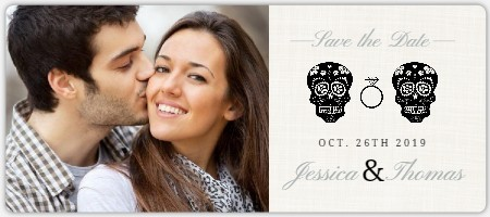 Skeleton Couple Cream Halloween Save The Date Save The Date