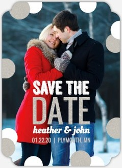 Faux Glitter Snow Save The Date Magnet