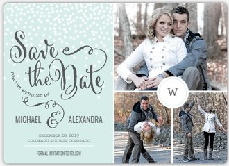 Blue Winter Snowfall Save The Date Magnet