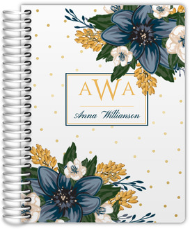 Beautiful Modern Blue Floral Daily Planner