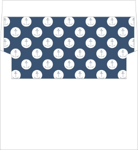 Teal Navy Nautical Anchor Envelope Liner