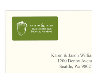 Rustic Green Fall Acorn  Address Label