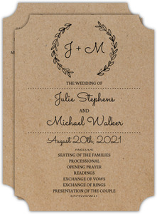 Rustic Chalk Wreath Initial Wedding Program