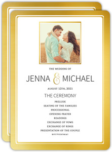 Faux Foil Wedding Program