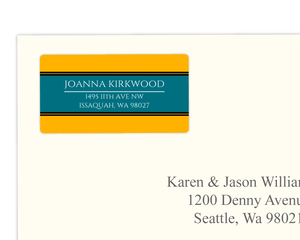 Modern Blue and Yellow Color Block Address Label