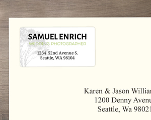 Rustic Green And Grey Tree Address Label