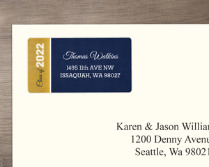 Navy and Faux Gold Foil Graduation Address Label