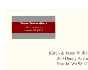 Modern Red Block Grey Stripes Address Label