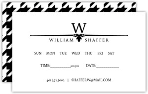 Black and White Formal Houndstooth Appointment Card