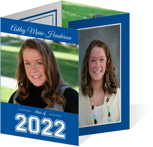 Collegiate Blue Graduation Invitation