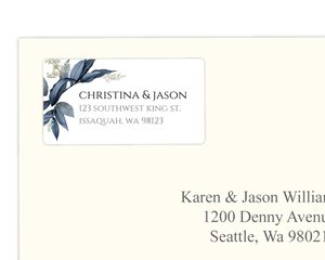 Geometric Frame Navy Leaves Address Label