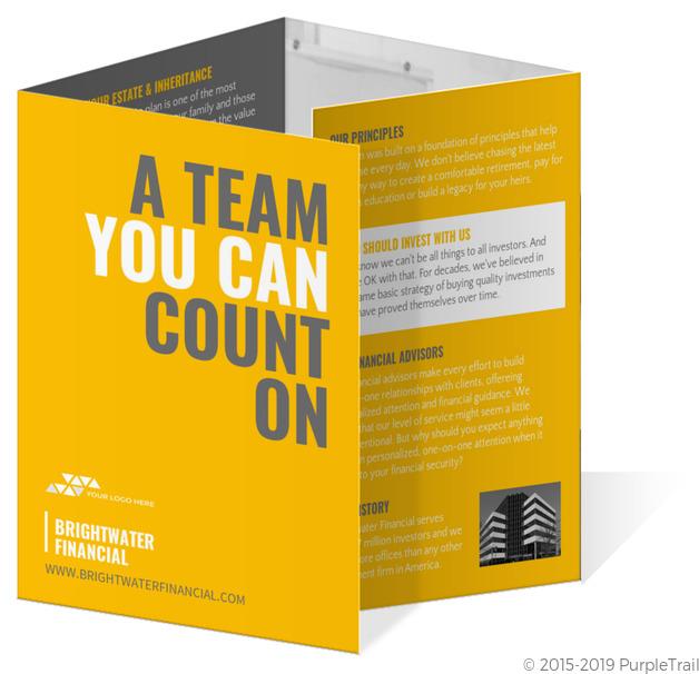 yellow typographic quad fold marketing pamphlet