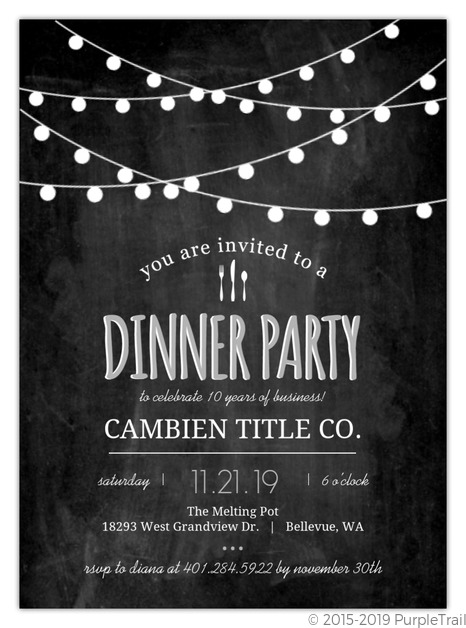 modern chalkboard lights business party invitation