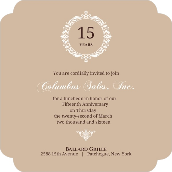 Brown Floral Monogram Anniversary Party Invitation