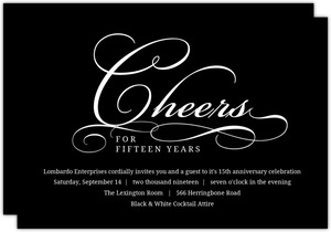 Black Sleek Swirls Anniversary Invitation