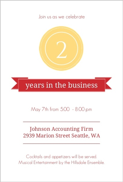 gold seal red banner anniversary invitation business anniversary