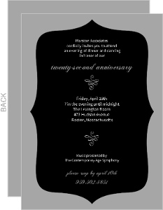 Elegant Black Gray Anniversary Invitation