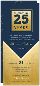 Geometric Navy and Faux Gold Business Anniversary Invitation