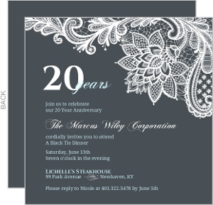 Custom business anniversary invites and invitiations blue formal lace business anniversary invitation stopboris Image collections