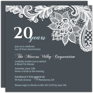 Blue Formal Lace Business Anniversary Invitation