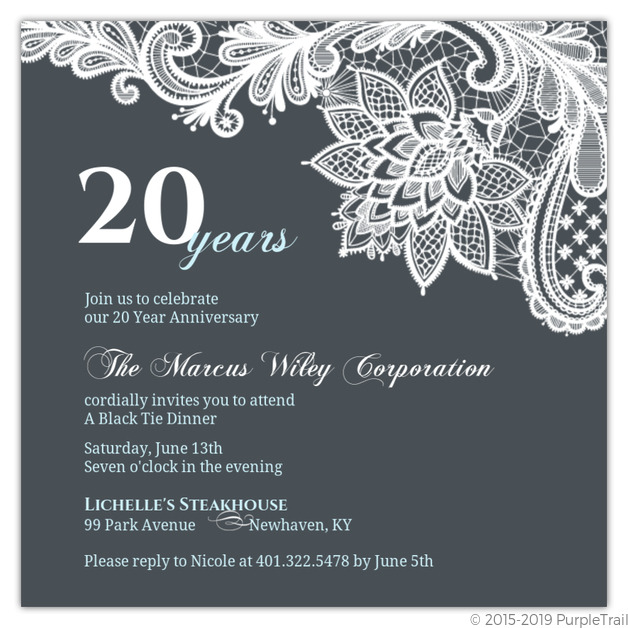 Blue Formal Lace Business Anniversary Invitation ...