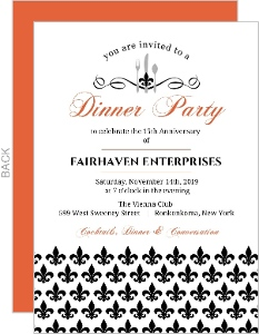 Custom business anniversary invites and invitiations elegant black fleur de lis business anniversary invitation stopboris Images