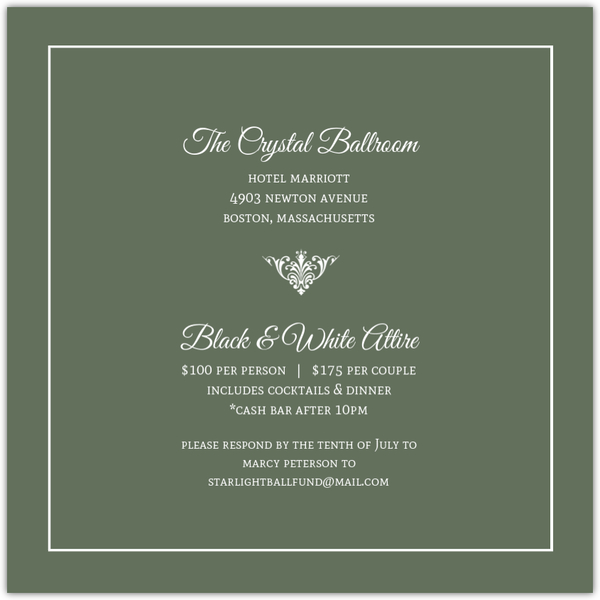 green elegant monogram business anniversary invitation business
