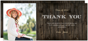 Rustic Woodgrain Portrait Graduation Thank You