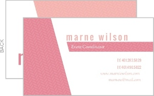 Pink Herringbone Business Card