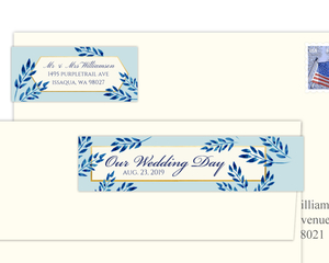 Elegant Blue Watercolor Foliage Address Label
