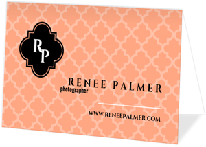 Peach Elegant Pattern Business Card