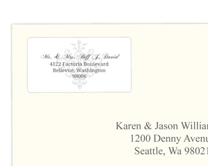 Gray and Elegant White Flourish  Address Label