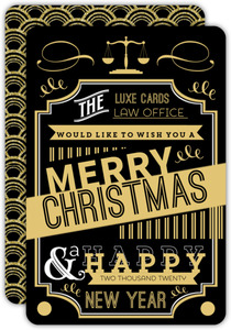 Gold Typographic Business Holiday Card