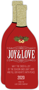 Red Elegant Bottle Season's Greetings Business Holiday Card