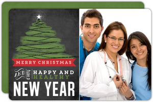 Happy Healthy Chalkboard Christmas Photo Card