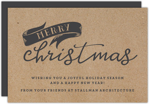 Kraft and Charcoal Banner Business Christmas Card