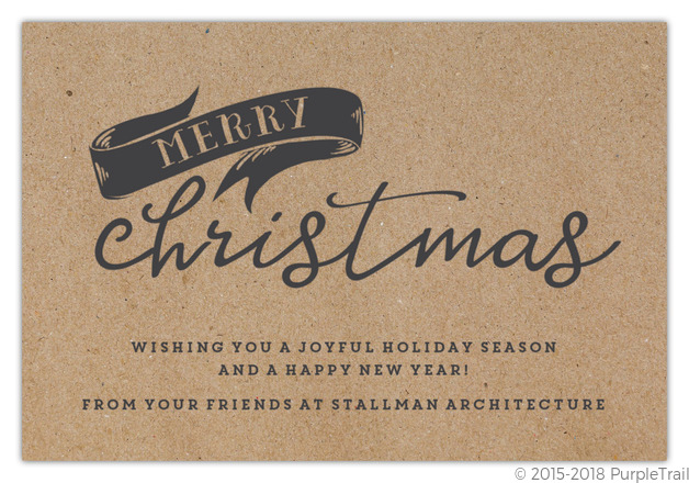 Business Christmas Cards.Kraft And Charcoal Banner Business Christmas Card