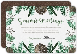 Pine Cone Faux Glitter Business Holiday Card