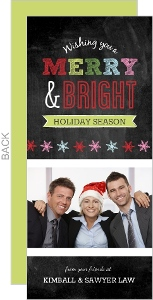 Merry & Bright Colorful Chalkboard Business Christmas Card