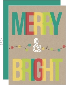 Colorful Merry Bright String Lights Business Christmas Card