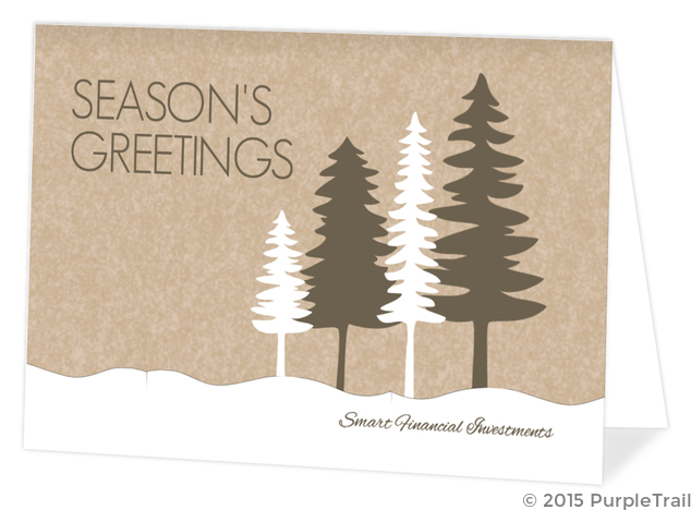 Business Christmas Cards.Rustic Pine Trees Business Christmas Card