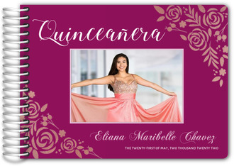 Faux Rose Gold Foil Floral Quinceanera Guest Book