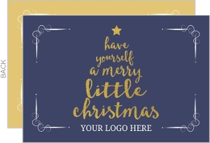 Business christmas cards company christmas cards navy and gold typographic little merry christmas tree christmas business card reheart Choice Image