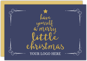 Navy and Gold Typographic Little Merry Christmas Tree Christmas Business Card