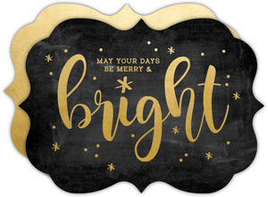 Faux Gold and Chalk Merry and Bright Business Christmas Card