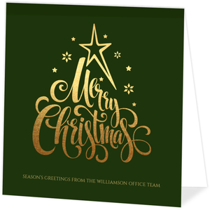 Faux Foil Merry Christmas Business Greeting Card