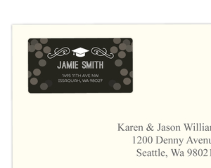 Simple Modern Confetti Graduation Address Label