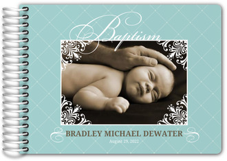 Elegant Frame Photo Baptism Guest Book