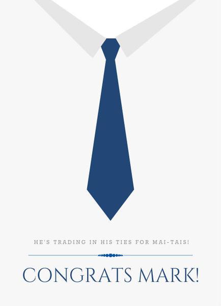 Formal Blue Dress Tie Congratulations Card Business
