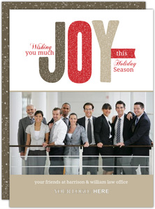 Festive Glitter Joy Business Holiday Card